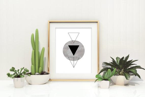 Plakat trójkąty plus koło
