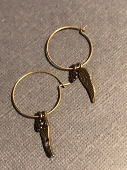 brass  wing of thought hoop earrings #0119 c $5