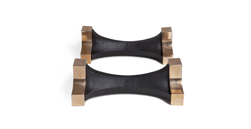 Jules Wabbes firedogs polished bronze and iron