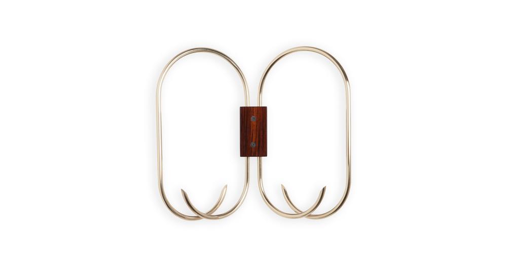 Jules Wabbes butterfly coat rack polished brass