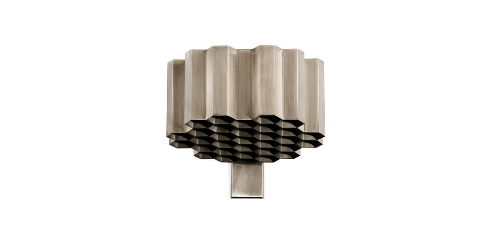 Jules Wabbes honeycomb wall lamp nickel-plated brass