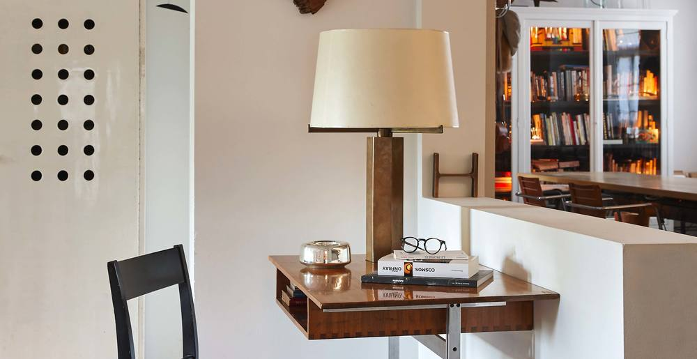 Jules Wabbes hexagonal bronze table lamp