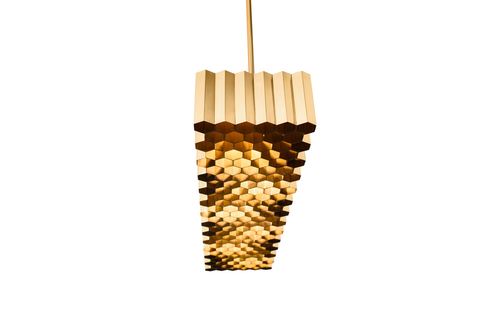 Jules Wabbes Honeycomb ceiling lamp polished brass