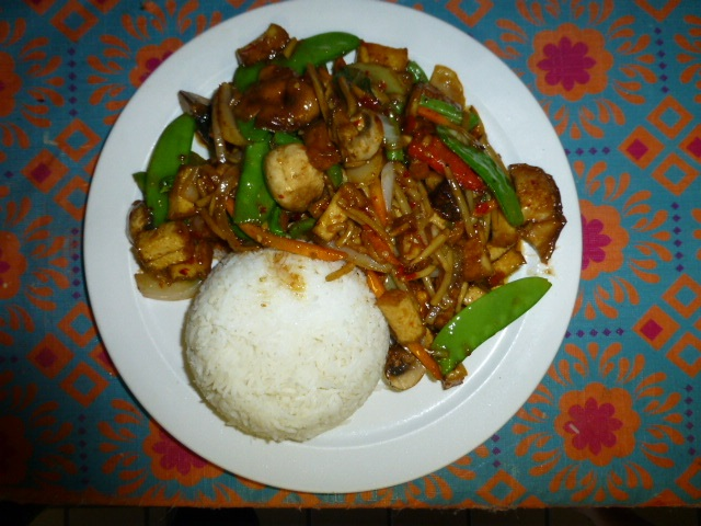 Most dishes offer the diner a choice of tofu, chicken, beef, pork or shrimp.