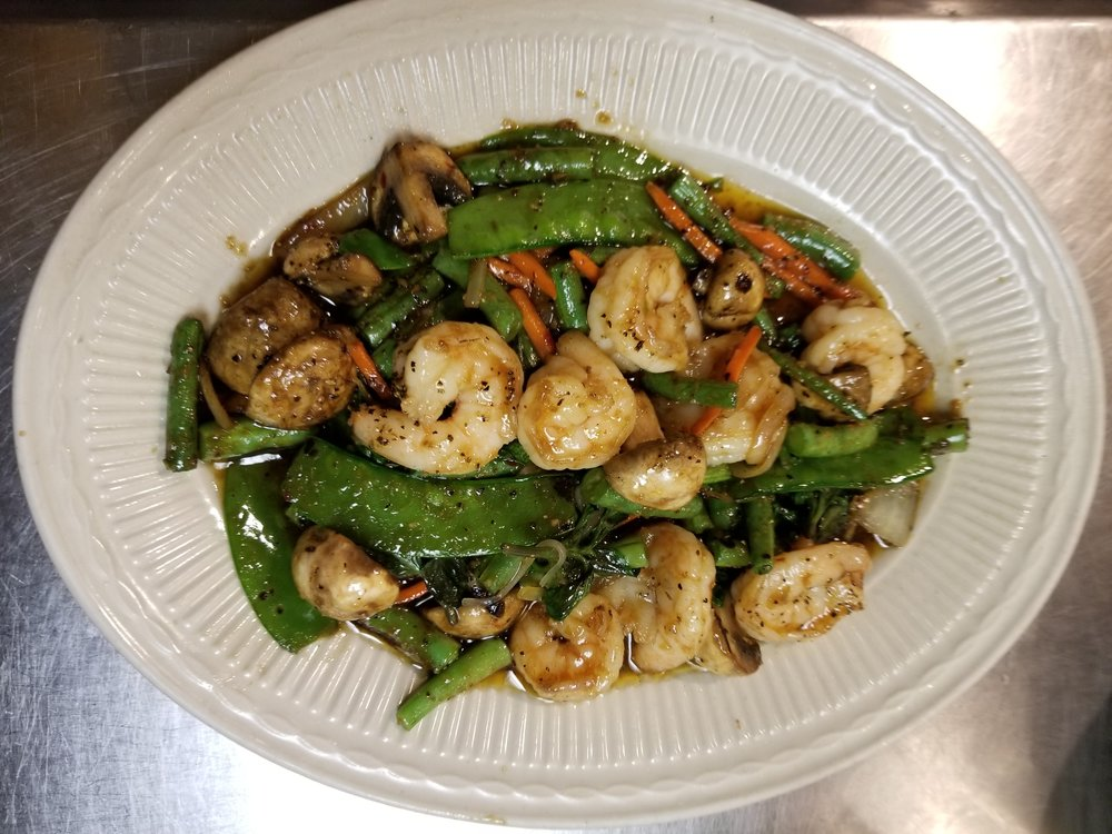 One of many delicious stir fry dishes available. Stir fry dishes come with jasmine rice.