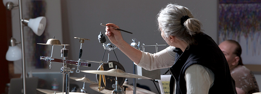 Percussionist Robyn Schulkowsky plays data. Schulkowsky is a part of Playing the Archive ,which uses archival data to create visualizations, sonifications, and installation-basedmaterializations, a project initiated by Penn State's Studio|Lab.