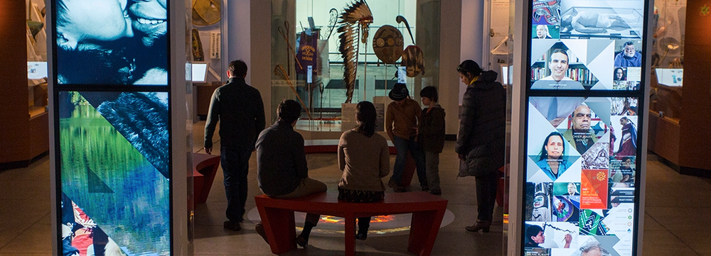 Native American Voices: The People Here and Now  , an exhibition at Penn Museum .  Through old and new objects, video and audio recordings, and digital interactive opportunities, this exhibition allows visitors to develop a new understanding of the original inhabitants of this land, as told through Native American voices.