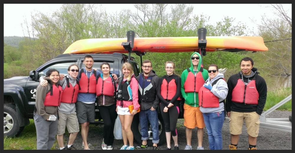 Recent College graduates on a river trip.