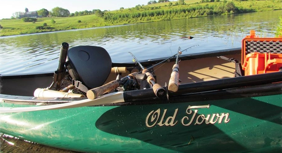 Old TownPack Angler Canoe all rigged up andready to fish.