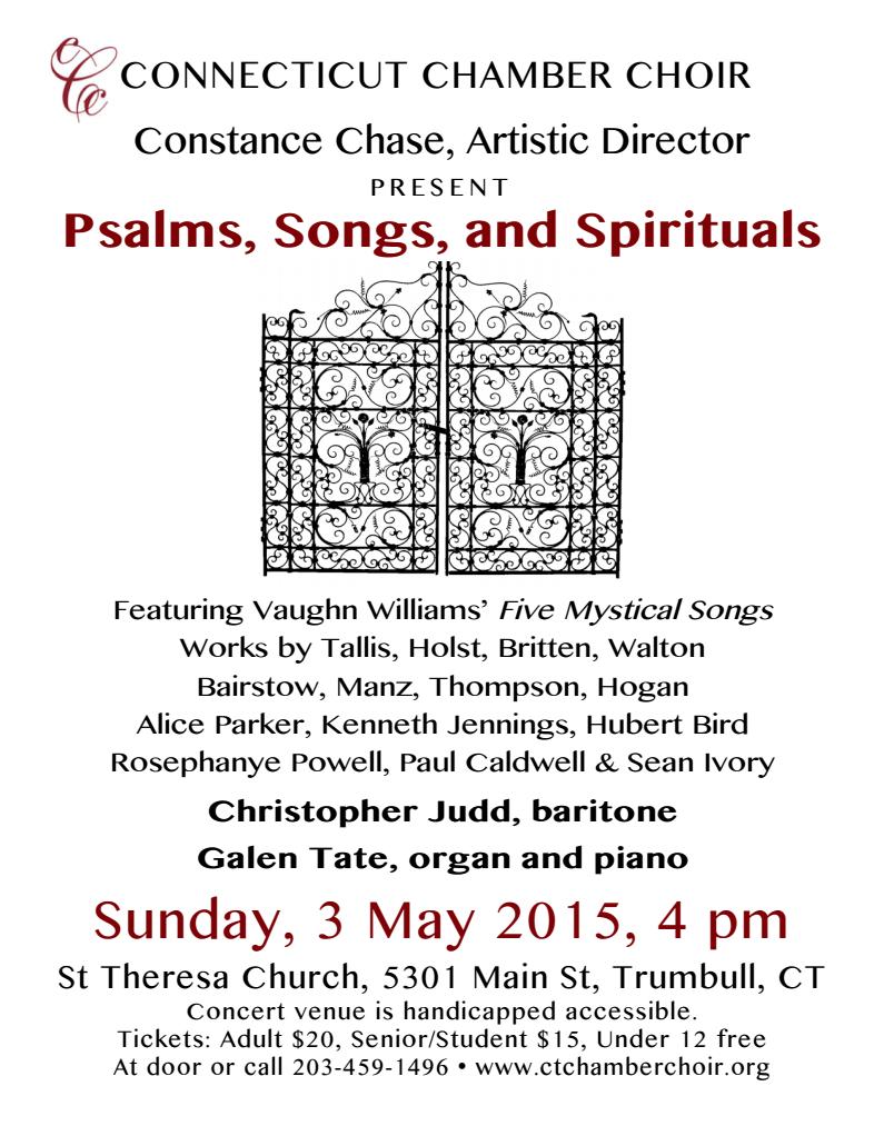 Psalms Songs and Spirituals Connecticut Chamber Choir – Choir Worksheets