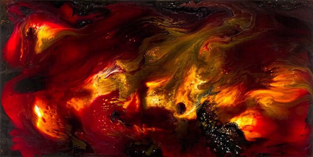 Nature Painting: Deep Impact, mixed media on aluminium, 198cm x 398cm, 2010