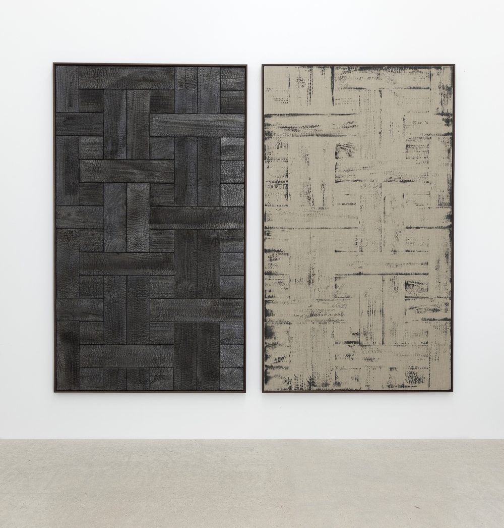 Burnt Painting, Imprint of a Burnt Painting , 2015; diptych, charred wood, dust of charred wood on canvas,195 x 130 cm each; Courtesy galerie frank elbaz, Paris; ph. Agostino Osio