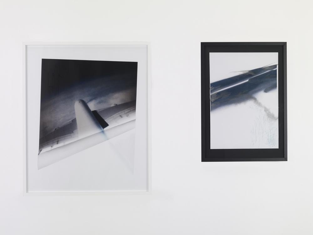 Ingrid Luche, Flying (after TD), 2012/13, dyptich, inkjet print on paper, colour pencil, nail varnish, wood frame, 59 x 42 cm ; 73 x 53 x 3 cm, Unique © Photo Marc Domage, Courtesy of the artist and Air de Paris, Paris.