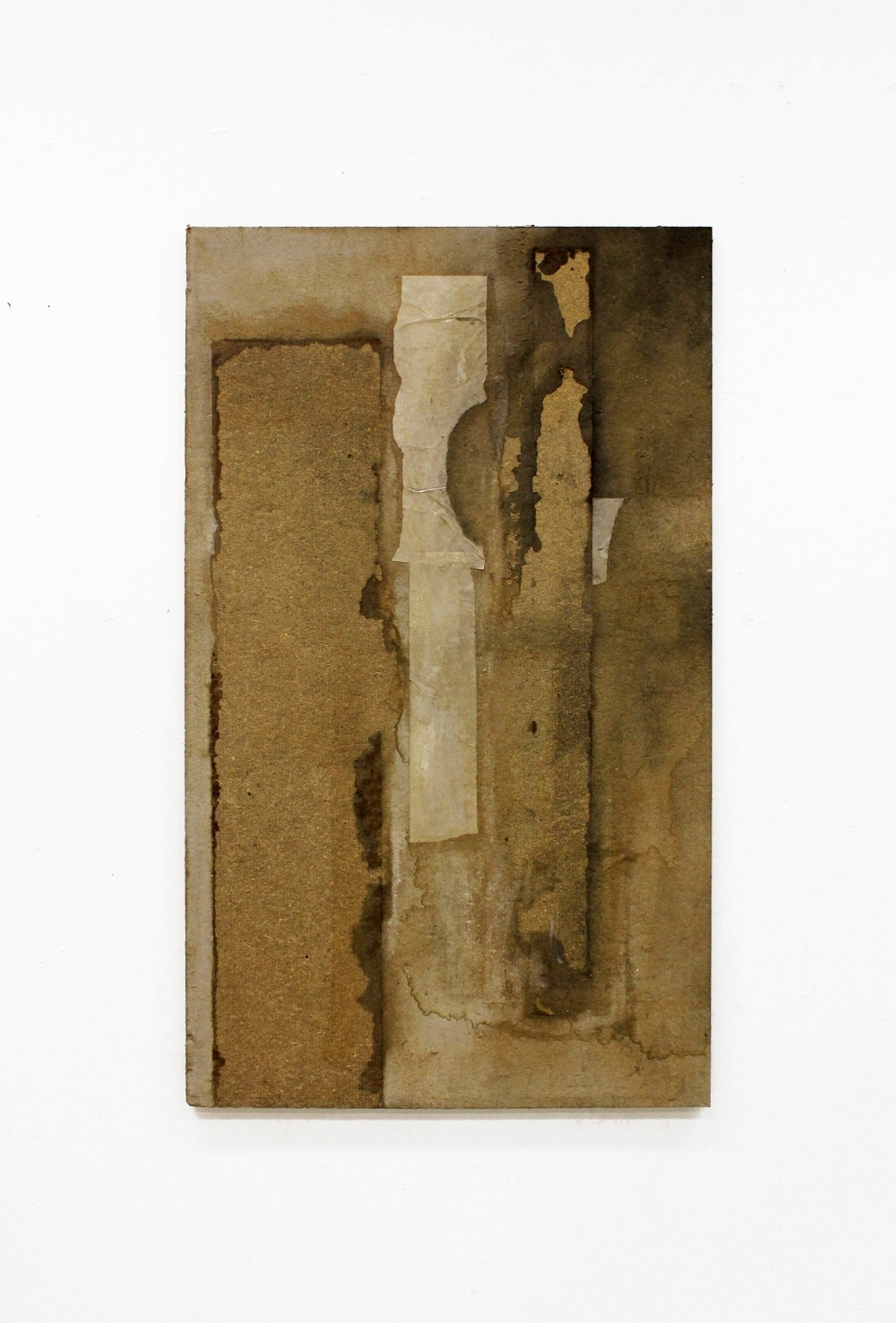 Untitled, 2015, Asphalt board, paper, acrylics, Cm. 89 x 59, Courtesy the Artist and Galerie Antoine Levi, Paris
