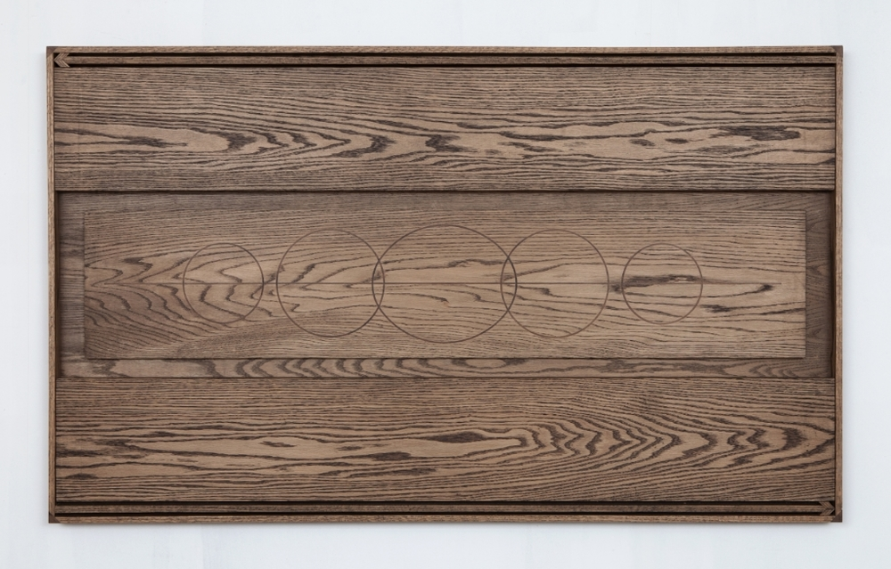 Reliquary for a Declaration No. 6, 2015, Oak with walnut inlay, 76.2 x 152.4 x 6.35 cm, Image courtesy of the artist and Monique Meloche Gallery, Chicago
