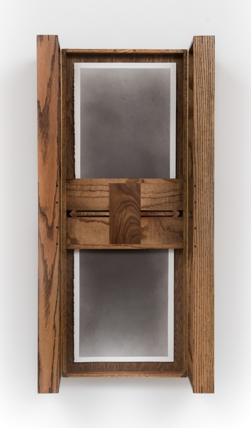 Untitled (Altar No. 6), 2015, Graphite on paper in artist made oak frame with walnut inlay, Partially open: 106.68 x 54.61 x 27.3 cm, Image courtesy of the artist and Monique Meloche Gallery, Chicago