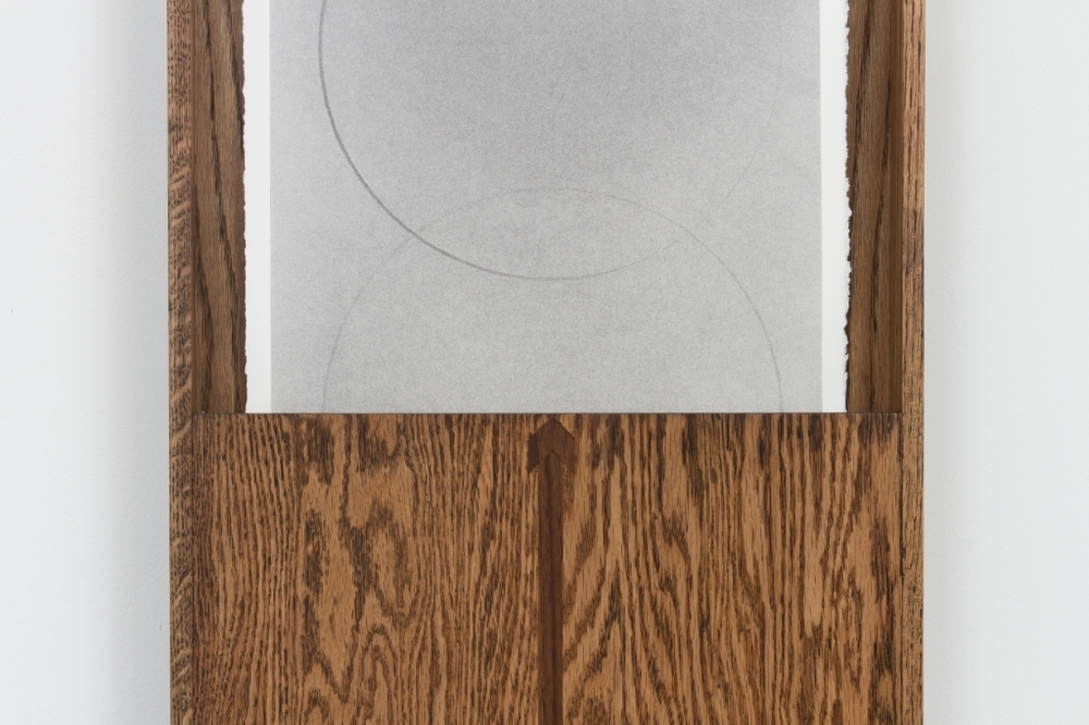 Untitled, 2015, Graphite on paper in artist made oak frame with walnut inlay, 132 x 40.64 x 6.35 cm, Detail, Image courtesy of the artist and Monique Meloche Gallery, Chicago
