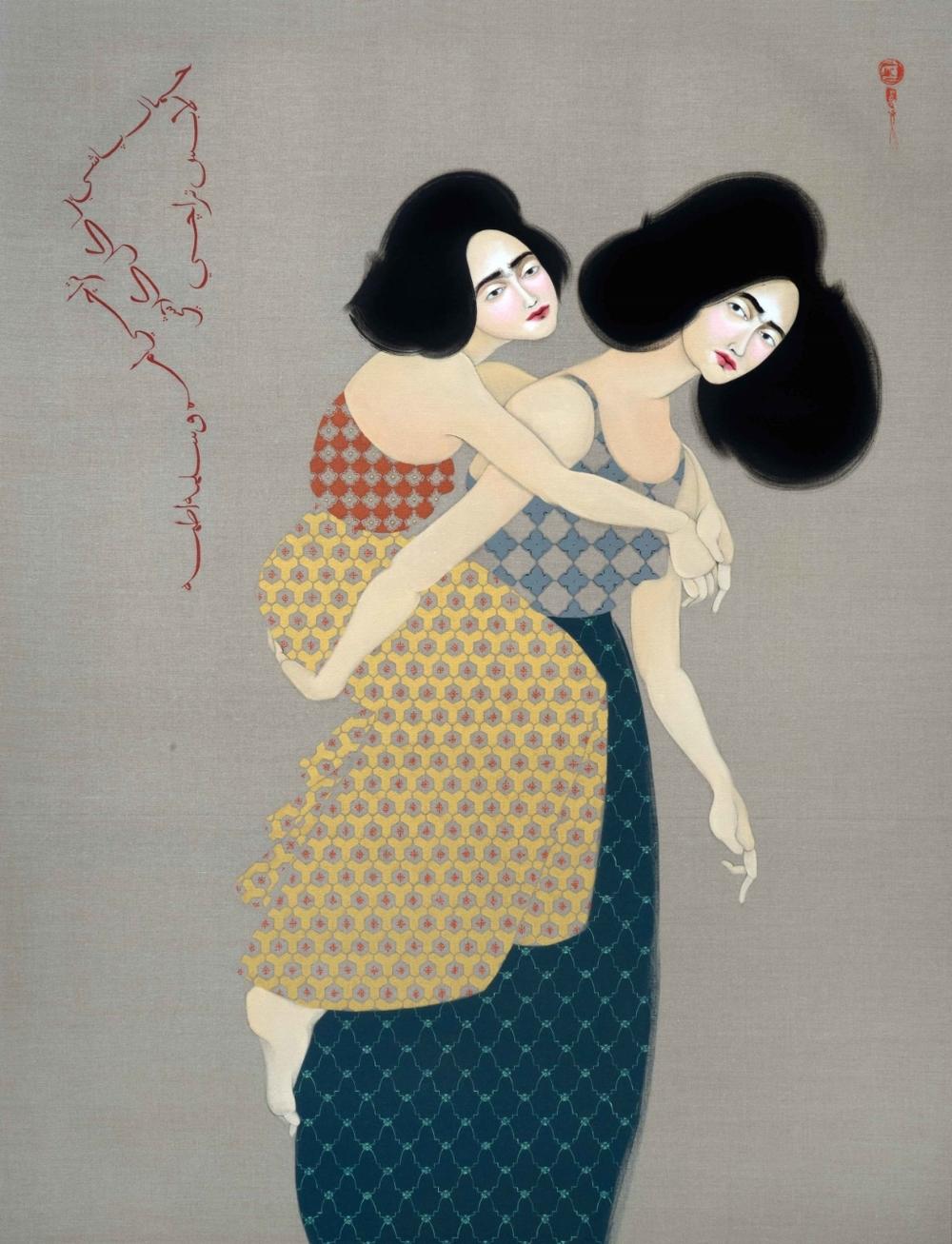 Hayv Kahraman, Hammal Bashi, 2015, Oil on linen, 177.8 x 137 cm