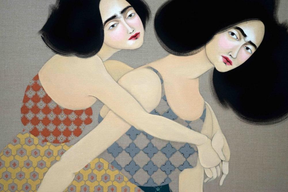 Hayv Kahraman, Hammal Bashi, 2015, Oil on linen, 177.8 x 137 cm, detail
