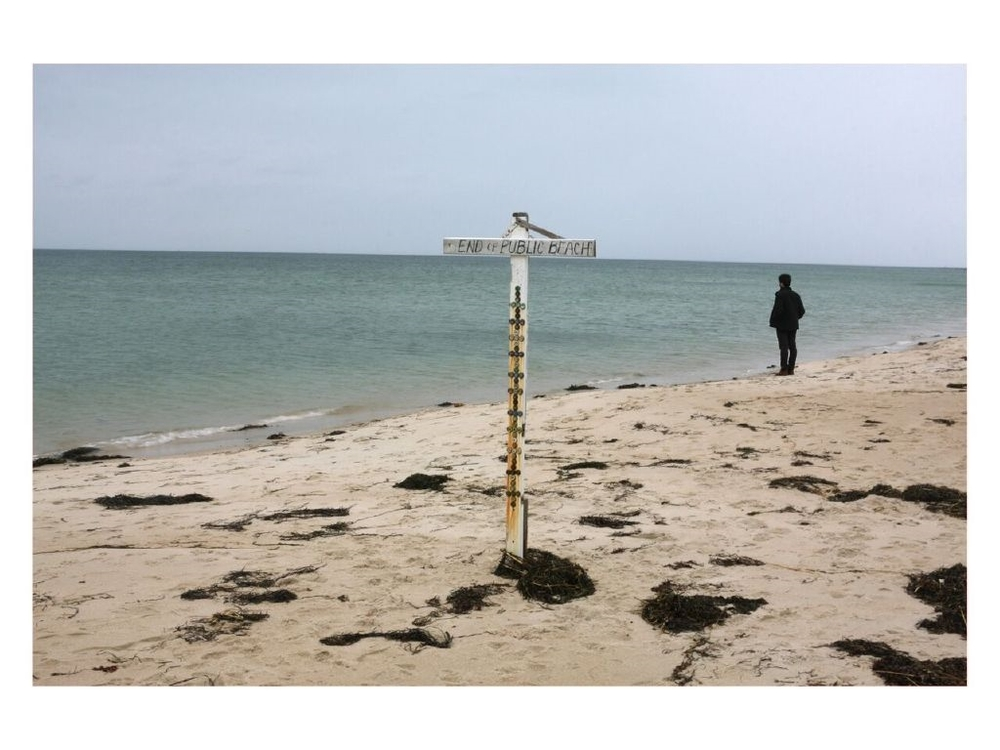 "David Horvitz, ""Pirivate Access"", Looking into Cape Cod bay from a private beach, courtesy the artist and Chert, Berlin"