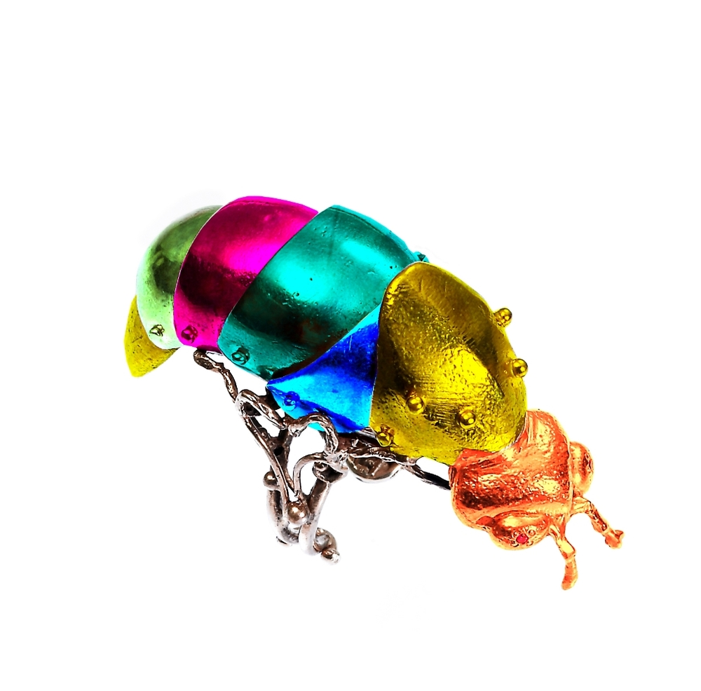 VERNISSAGE JEWELLERY ART 152  articulated firefly ring 925 pink silver and green lysergic enamel jpg rainbow .jpg