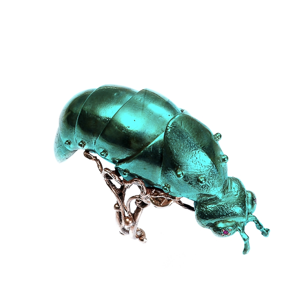 VERNISSAGE JEWELLERY ART 152 articulated firefly ring 925 green silver.jpg