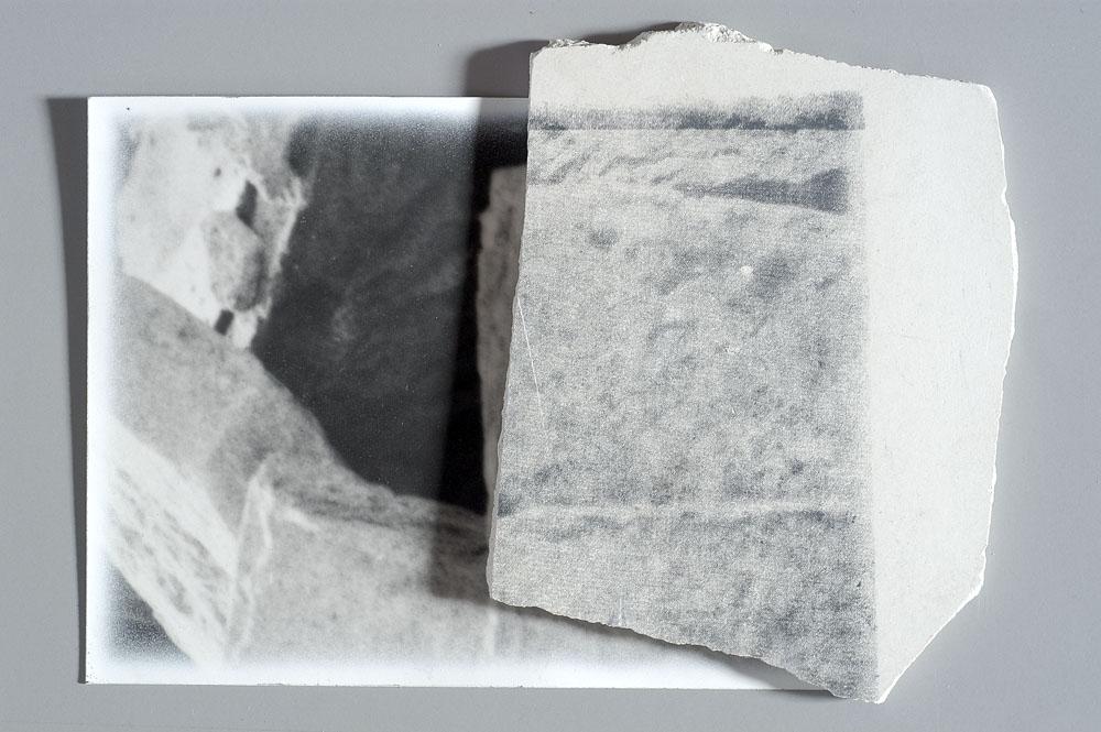Franco Guerzoni, Archeologia, 1973. Fotografia ritoccata e stampa serigrafica su gesso, 70 x 50 cm (Collezione privata, Bologna)