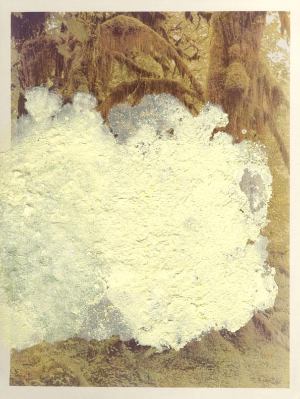 Franco Guerzoni, Dentro l'immagine, 1975. Cristalli di zolfo su fotografia originale, 18 x 24 cm  (Courtesy dell'artista)