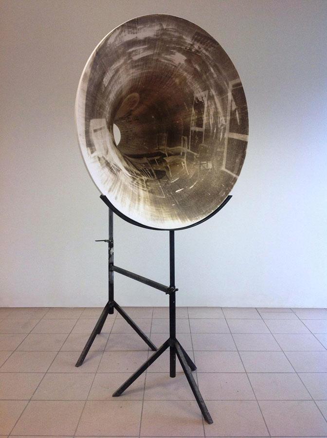 Elia Cantori, Untitled (Black Hole), 2012. Emulsione fotografica, resina e ferro, 200 x 106 x 80 cm (Collezione privata, Roma) (Courtesy Galleria CAR DRDE, Bologna)