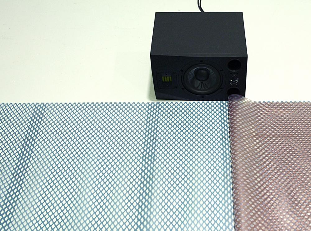 LDD 01, veduta dell'installazione. Sara Enrico, Undisclosed recipients (2015-16), stampa UV su nylon, ferri, magneti, dimensioni variabili. Nicola Ratti, Extended studio play (current). Courtesy degli artisti