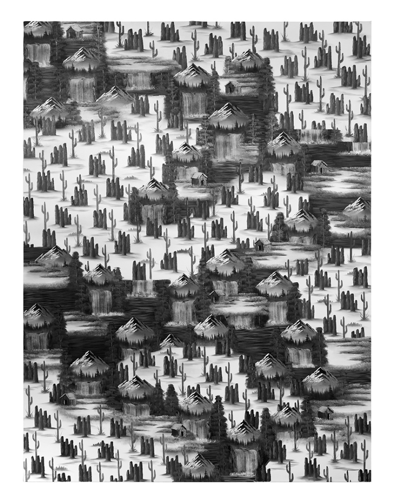 Mountain Waterfall (Cactus Black and White Edit), 2016, oil and acrylic on canvas, 240x180cm