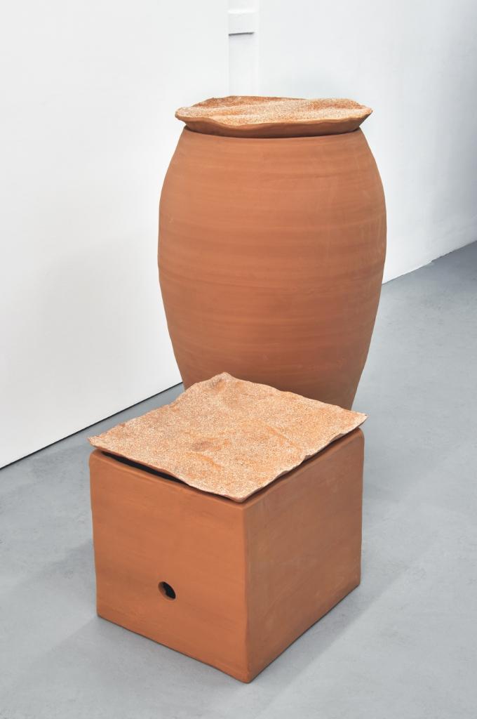 Renato Leotta,  Aventura (Madeira),  2016, terracotta, sand, 55 x 65 x 67 cm approx. and  Aventura (Tanger),  2016, terracotta, sand, 100 x 50 cm approx.