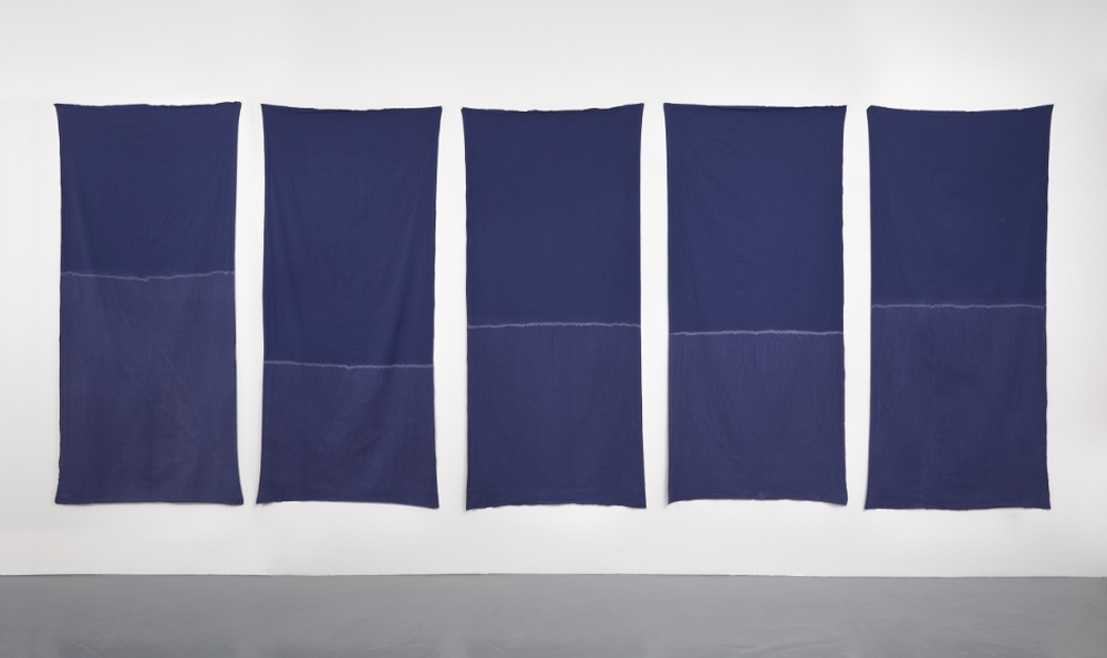 Renato Leotta,  Mais ou Menos  , 2016, cotton, salt water, 5 elements, 200 x 90 cm. each installation dimensions variable