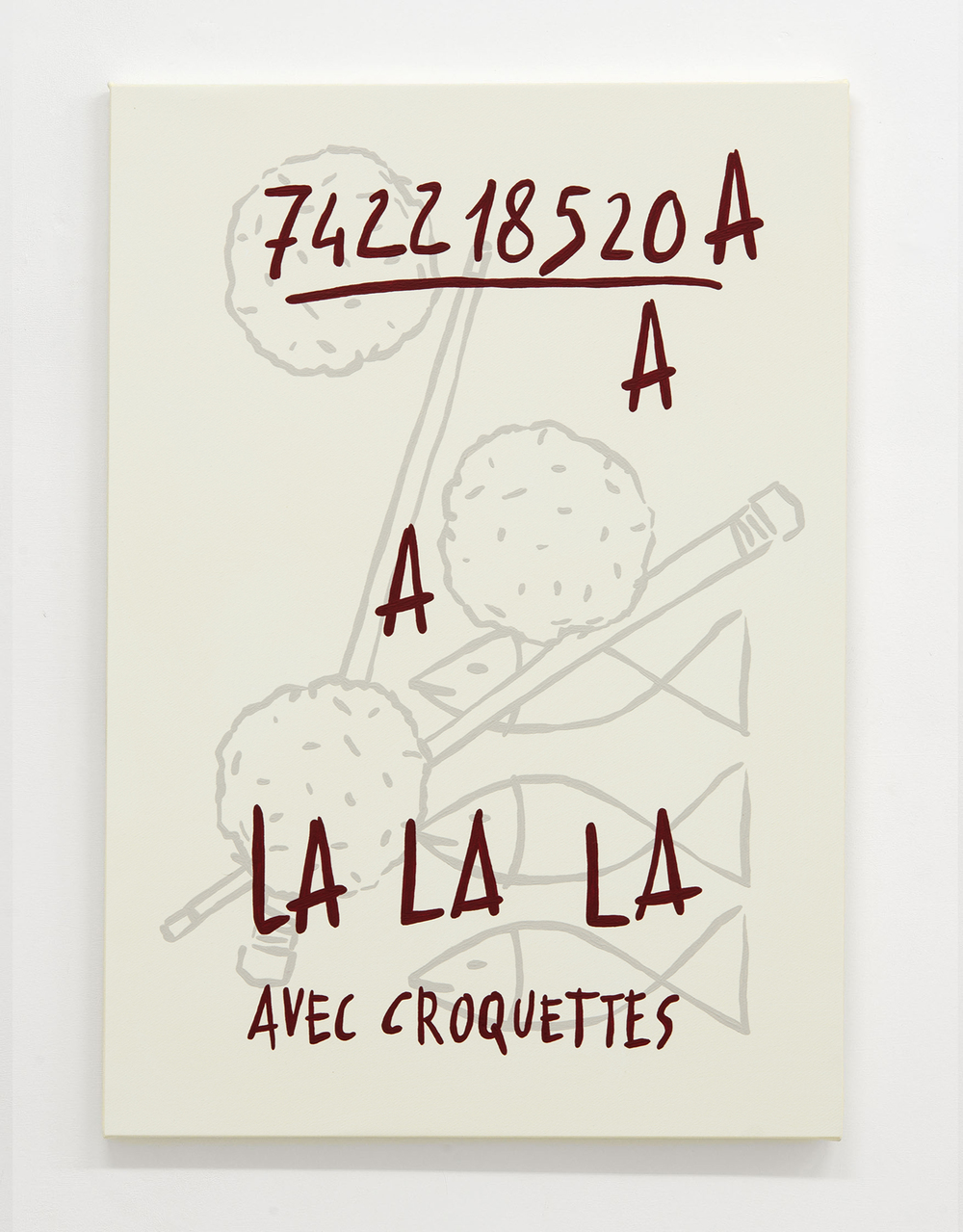 """742218520 A A A LaLaLa Avec Croquettes"", 2016, Acrylic on canvas, cm 68x50 – Photo Pavel Curagău"