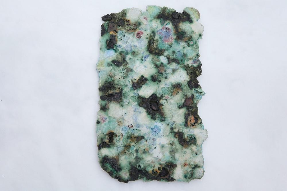 Alberto Scodro, Spring#11,2016, 24 x 16 x 1 cm,bronze, sand, glass, pigment