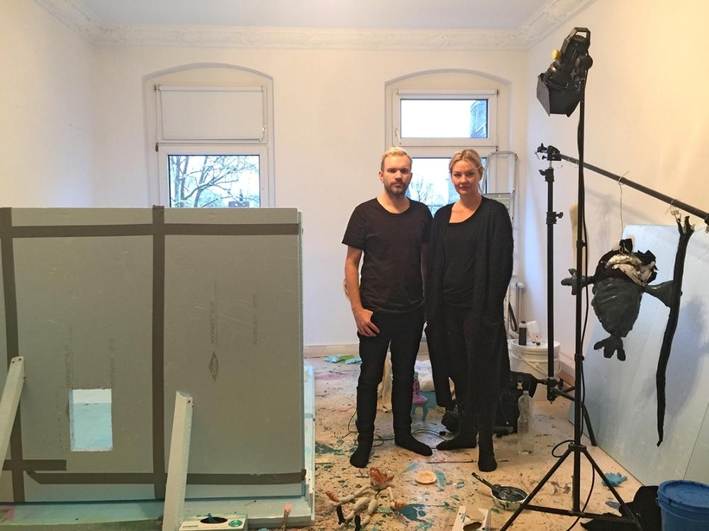 Hans Berg & Nathalie Djurberg in Berlin studio, Feb 2016. Photo Mattias Givell
