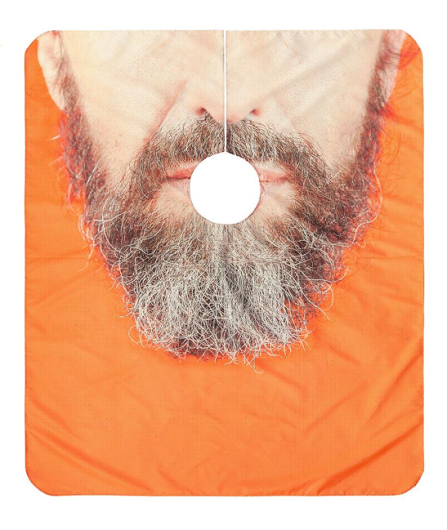 The Cool Couple, A Kind of Display, fd6c2f, Full Beard, 2015, stampa a sublimazione su mantellina da barbiere, cm 115x135 © The Cool Couple, courtesy Metronom/Viasaterna