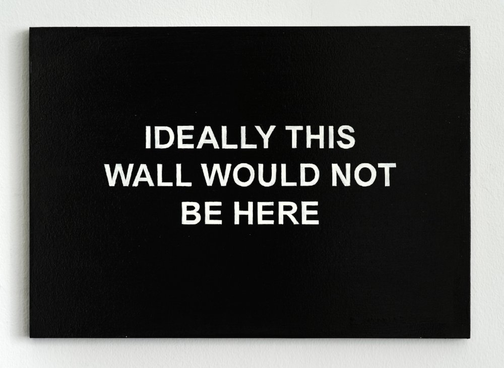 IDEALLY THIS WALL WOULD NOT BE HERE , 2014; oil and varnish on board; 30 x 40 cm; Courtesy the artist and carlier | gebauer, Berlin; Nathalie Obadia, Paris
