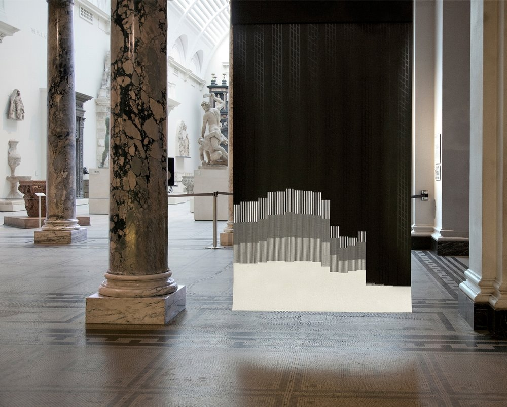 Dataflags, 2014, Somerset paper, screenprint, data from the last ten years of Lehman Brothers' financial trading, electric paint, soundsystem, custom code, voice soprano (Madge), installation shots at the V&A
