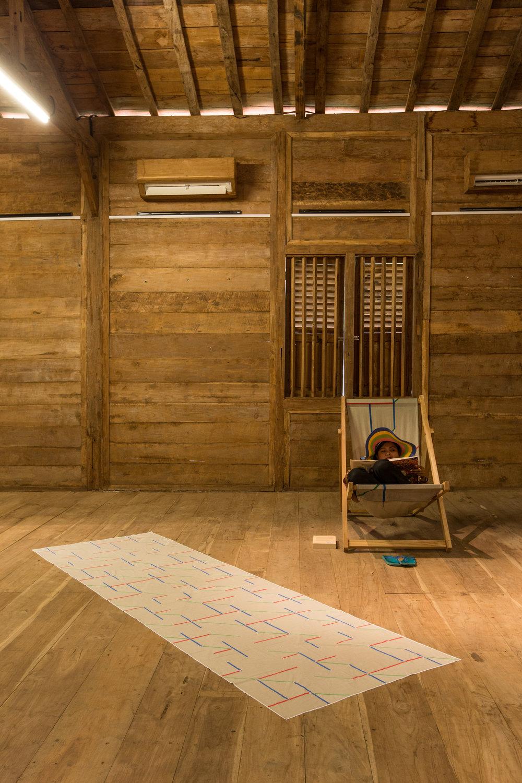Basa Walikan [Batik transcriptions], exhibition view, KAYU_Lucie Fontaine, Bali, 2015