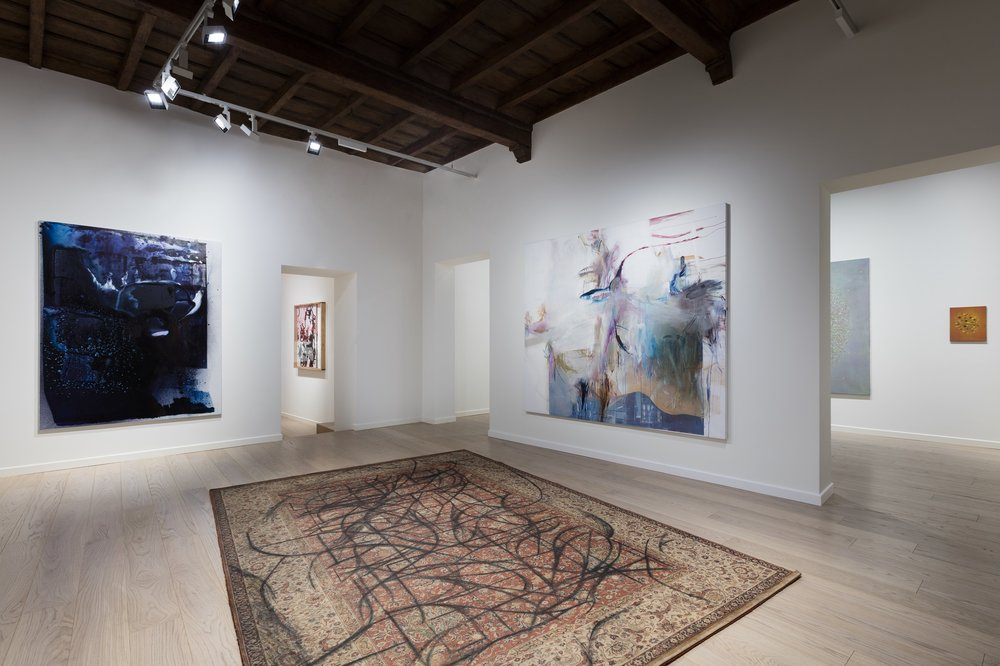 Installation view, first floor, Fasi Lunari, Fondazione Carriero. Left  - Max Frintrop  –  Amon Düül , 2016, Pigments, acrylic, ink on canvas 200 x 150 cm, Courtesy the Artist. Middle -  Peppi Bottrop  -  … of election , 2016, Graphite on rug, 340 x 240 cm, Courtesy Jan Kaps. Right -  Albert Oehlen  –  FM 58 , 2011, Oil and paper on canvas, 200 x 230 cm, Private collection