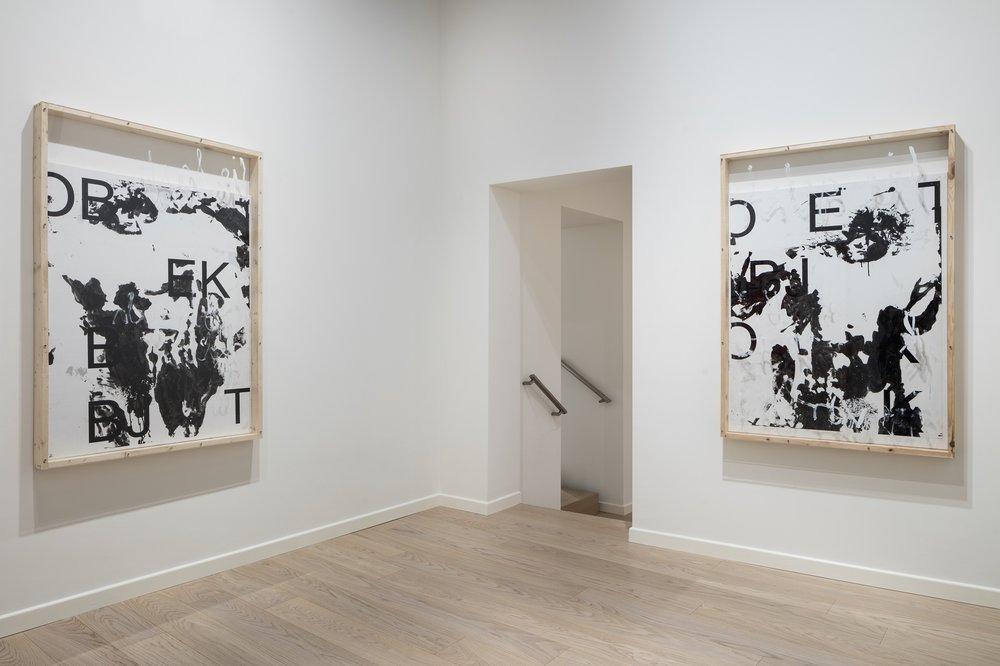 Installation view, first floor, Fasi Lunari, Fondazione Carriero. Left -  Fabian Ginsberg  –  Senza titolo , 2015, Inkjet-print on paper, acrylic, lacquer, wood, canvas, 146,5 x 99 cm, Courtesy the artist. Right -  Fabian Ginsberg  –  Senza titolo , 2015, Inkjet-print on paper, acrylic, lacquer, wood, canvas, plexiglass, 146,5 x 99 cm, Courtesythe artist