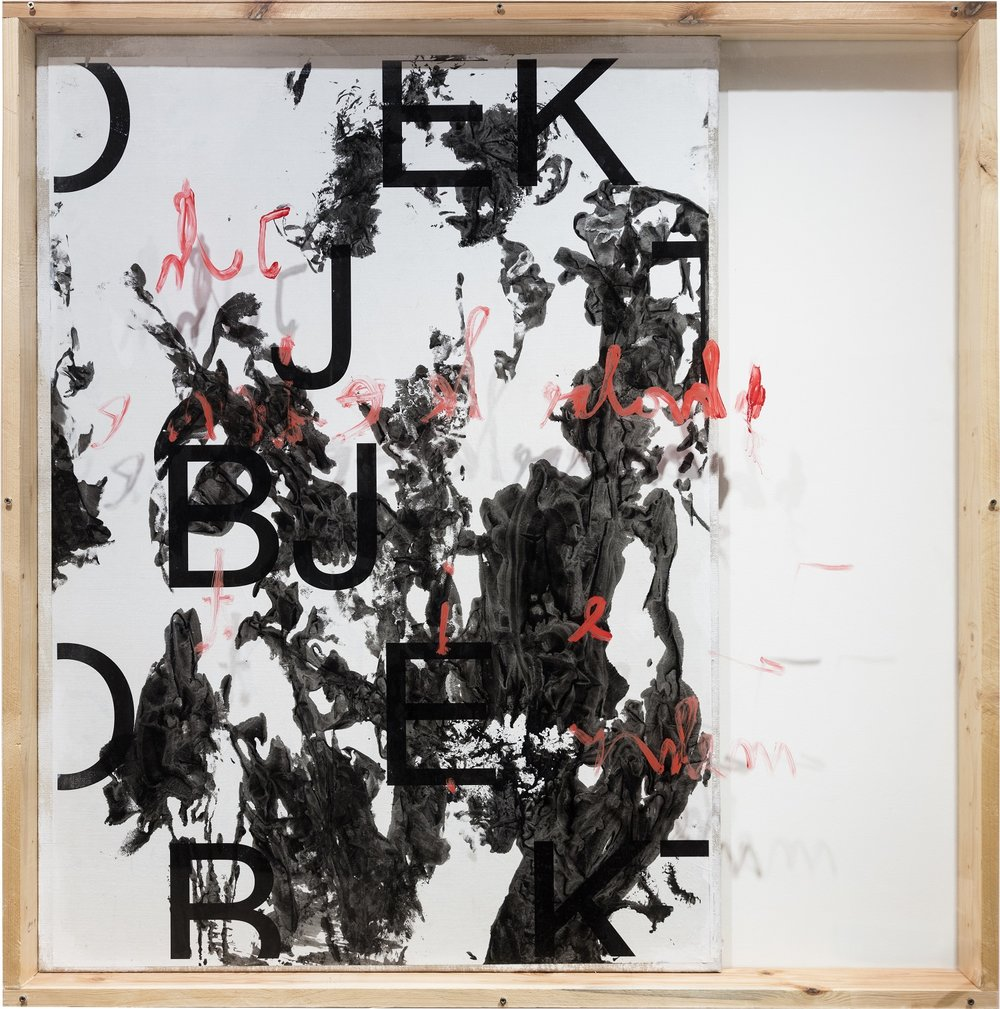 Senza titolo , 2016, Inkjet-print on paper, acrylic, lacquer, wood, canvas plexiglass. 127,4 x 125 cm, Courtesy the artist
