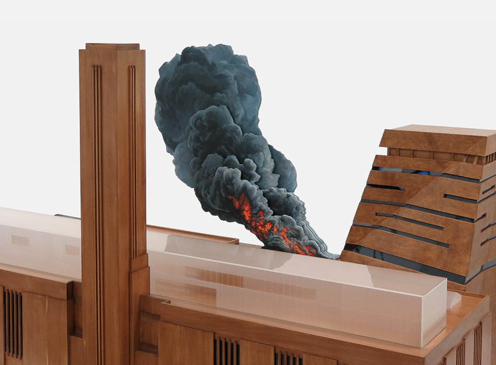 Nathan Coley,  Tate Modern on Fire  (detail) ,  2017 Stained timber, Perspex and mixed media. u170 × 100 × 90 cm approx. © Nathan Coley 2017. Courtesy Parafin, London
