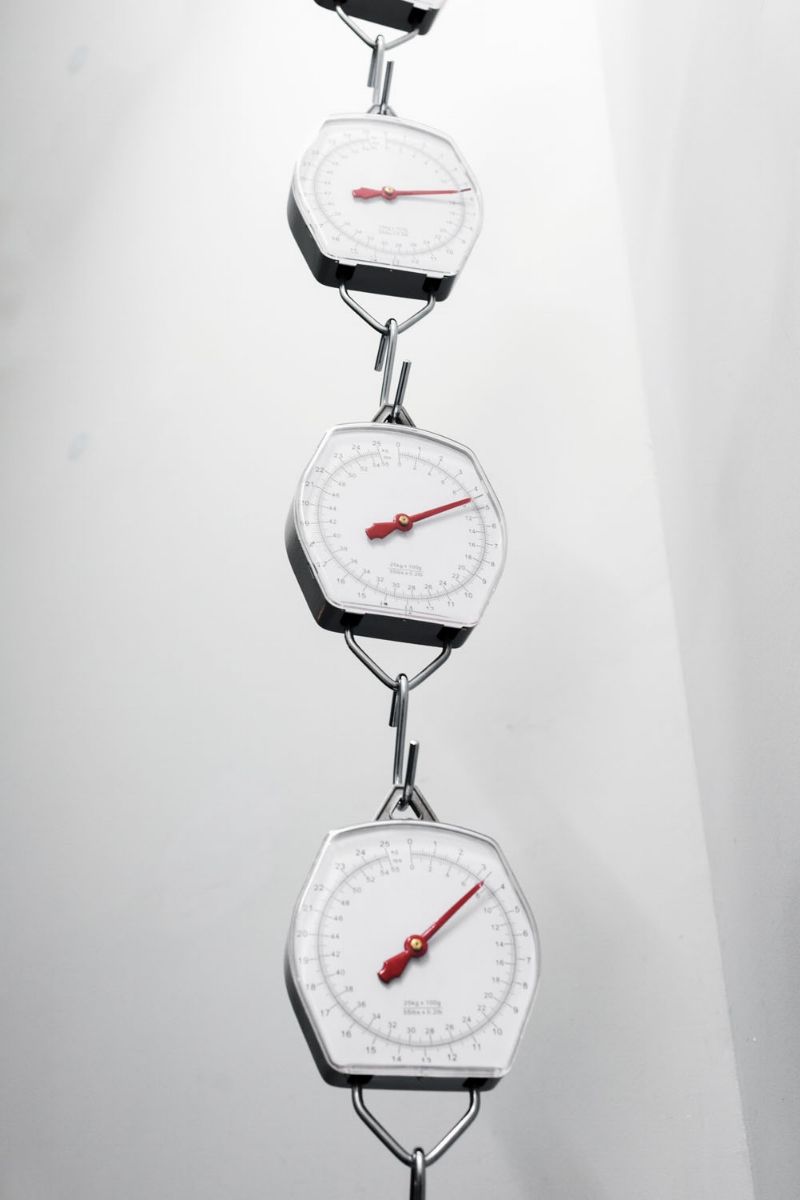 Ouroboros, 2013, Suspended weighing scales Dimensions variable, (detail)