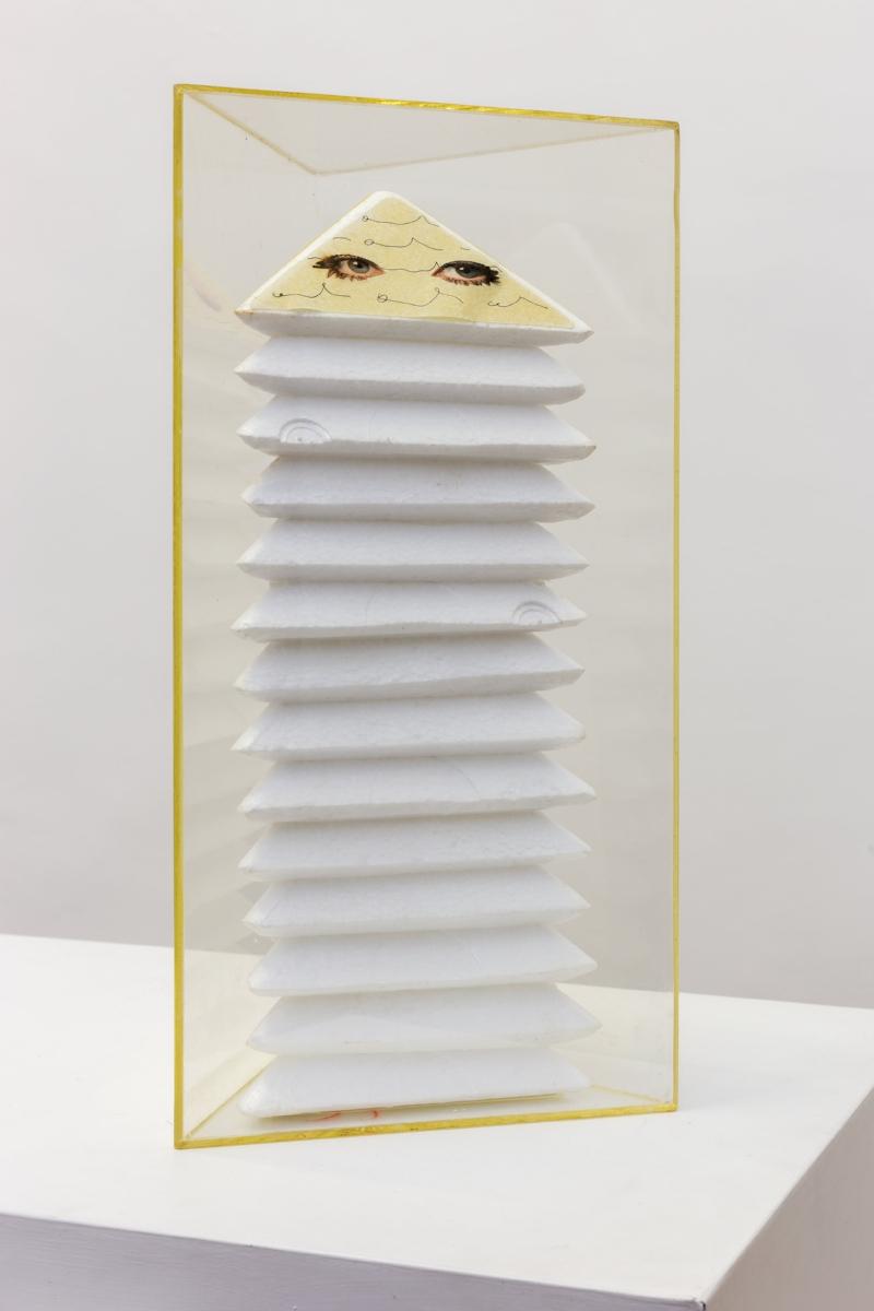 Tomaso Binga, Senza Titolo , 1972, collage on styrofoam, plexiglass, 43 x 22,1 x 19,2 cm