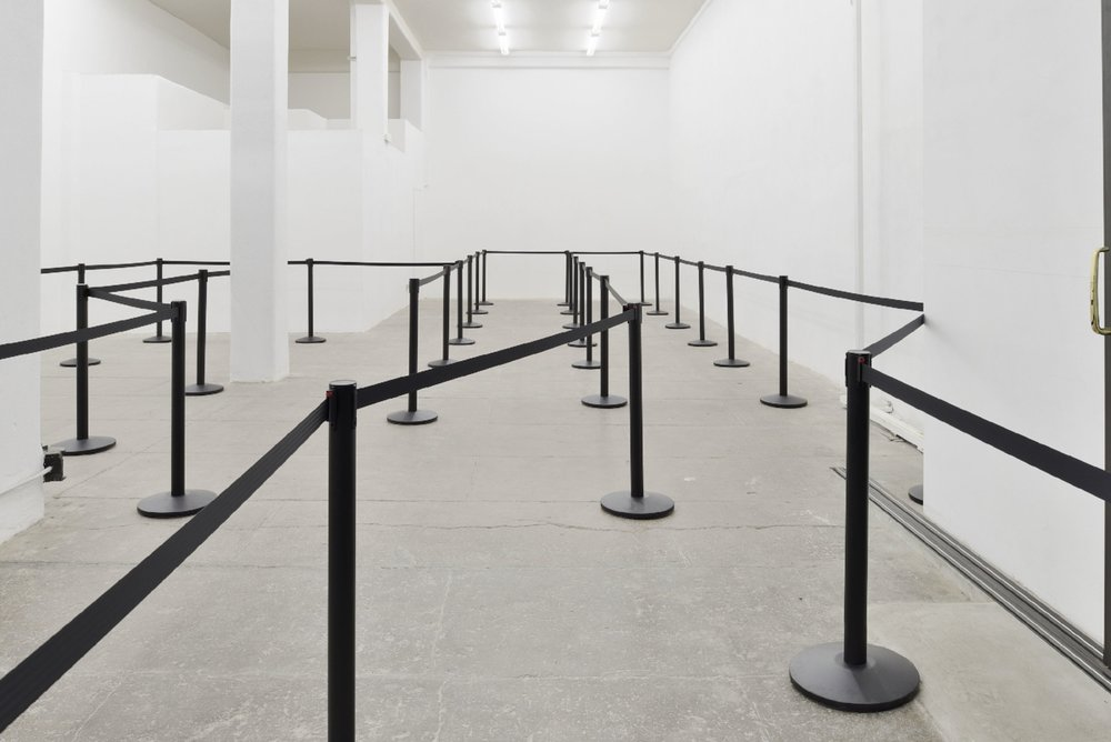 Barriers (Stanchions), 2017, black retractable belt barriers and stanchions, Dimensions variable, Unique