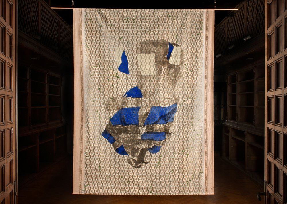 Life Jacket , 2017, Mixed Media on Fortuny textile, 76 3/4 x 57 1/2 in - 195 x 146 cm,  Courtesy of the artist and Leviathan - Human & Marine Ecology. Photography Gianmaria De Luca