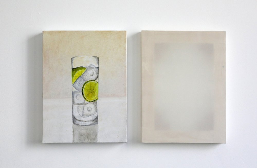 Antonietta Federici and Jacopo Miliani Gin Tonic, 2017, Oil on canvas, Gin and tonic water on silk, 30x40 cm (each)
