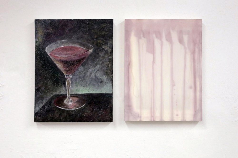 Antonietta Federici and Jacopo Miliani  Cosmopolitan , 2017, Oil on canvas, 30x40 cm, Vodka, Cointreau, lime juice, cranberry juice on silk, 30x40 cm